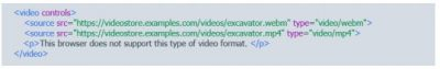 Video controls HTML5 tags for videos and animations