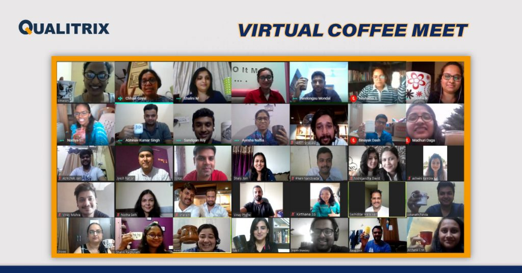 virtual coffee meet at Qualitrix - Best Software Testing Company